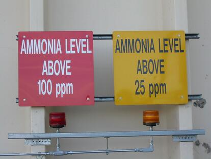 The refrigerant ammonia is hazardous, so warning signs and a disaster plan must be in place