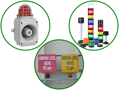 alert signs, visual and audible alarms about ammonia level