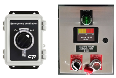 ON/Auto switch and Emergency shut-off panel with ppm indication