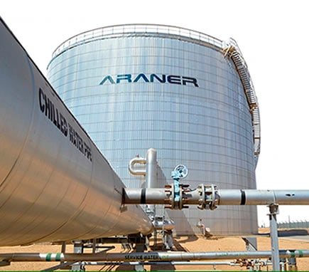 A thermal energy storage system with a stratified water tank uses ARANER's temperature monitoring controls